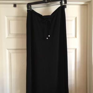 Casual viscose drawstring maxi skirt